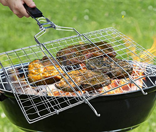 AONOKOY BBQ Grilling Basket 13.9 x 8.9in Portable Stainless Steel Grill Basket with Removable Wooden Handle