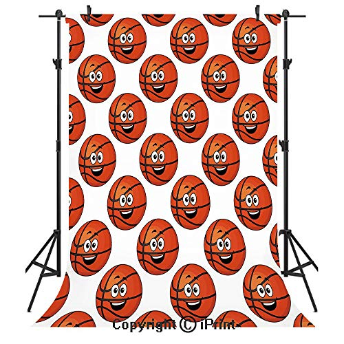 - Basketball Photography Backdrops,Happy Smiling Orange Balls Emoticons Entertainment Competition Sports Decorative,Birthday Party Seamless Photo Studio Booth Background Banner 3x5ft,Orange Black White