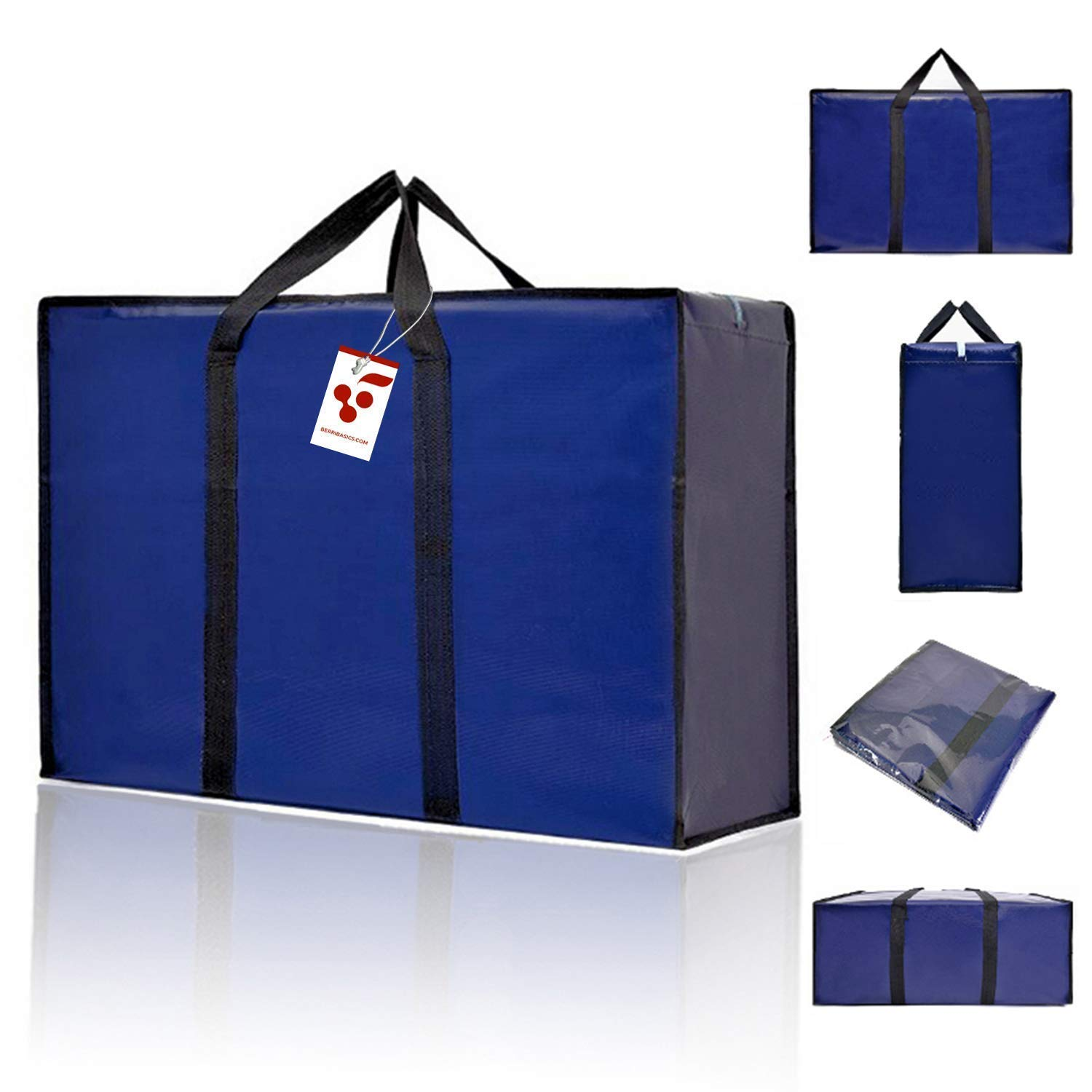 6197e4cfc93130 BERRI BASICS Large Oxford Moving bags,Laundry Storage, Shopping Bag with  Double Zipper REUSABLE: Amazon.co.uk: Kitchen & Home