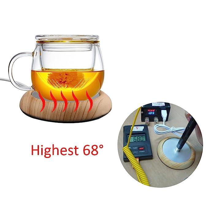 Posavasos calentador eléctrico con USB, hecho de grano de madera, ideal para mantener tu taza de té, café o leche caliente mientras trabajas: Amazon.es: ...