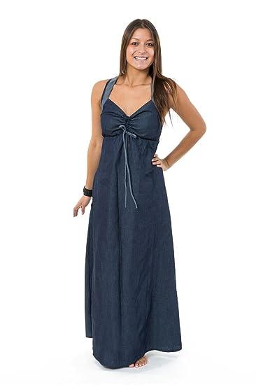 465602ecb204 FANTAZIA Robe Longue Jean Denim Doux Originale Ta -  Amazon.fr  Vêtements  et accessoires