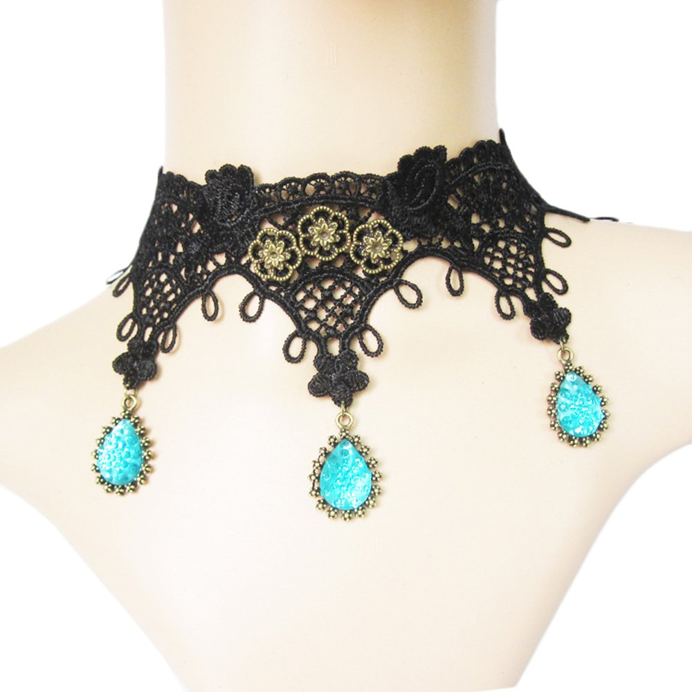 Vpang Elegant Vintage Black Lace Necklace Beads Tassels Chain Lolita Gothic Pendant Choker Wedding Halloween Party Accessories
