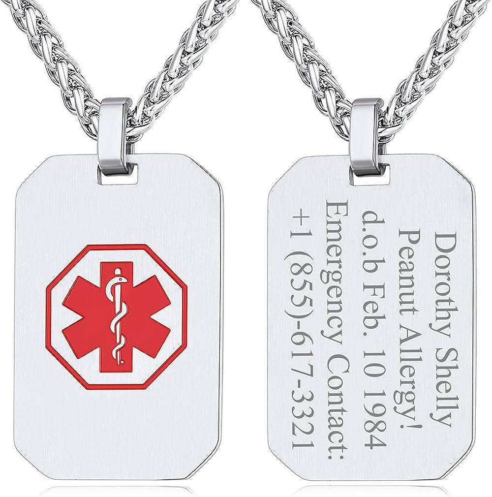 Custom4U Diabetic Medical Alert Necklace for Men Personalized Emergency ID Pendant Eliquis/Blood Thinner/Epilepsy Alert Disease Awareness Jewelry