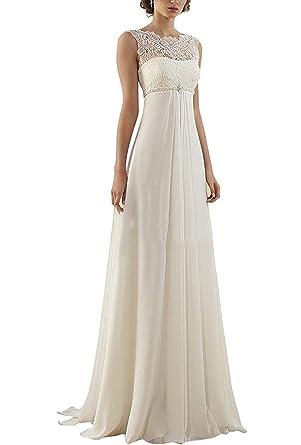 XingMeng Sheath Chiffon Empire Waist Wedding Dress With Beaded Lace ...