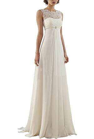 XingMeng Sheath Chiffon Empire Waist Wedding Dress With Beaded Lace ...