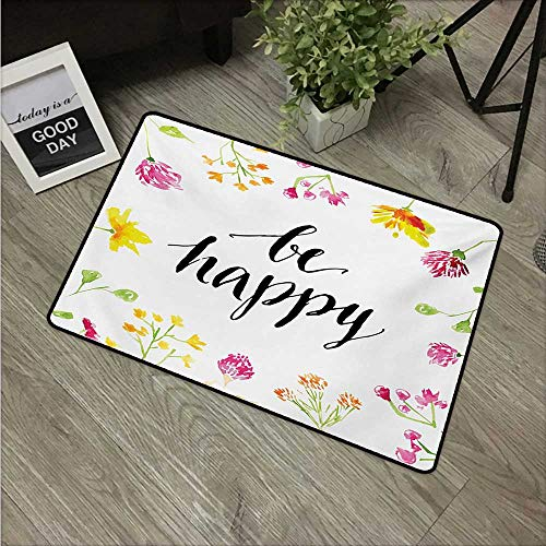 (Anzhutwelve Quote,Doormats Positive Vibes Spring Revival Floral Be Happy Phrase Framed by Colorful Wild Flowers W 31