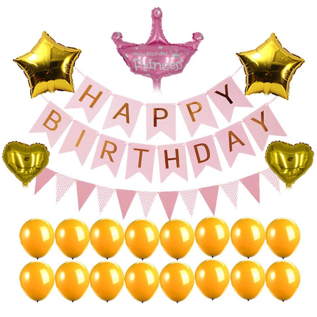 1KTon 1セット カラフル ハッピーバースデー バナー 子供 家族 誕生日パーティー ホームデコレーション ピンク  ピンク B07R87JCGM