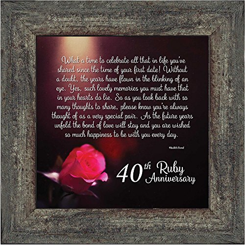 Elegantly Yours Ruby Anniversary, Ruby Wedding Anniversary Picture Frame, 40th Wedding Anniversary, 10x10 8603BW