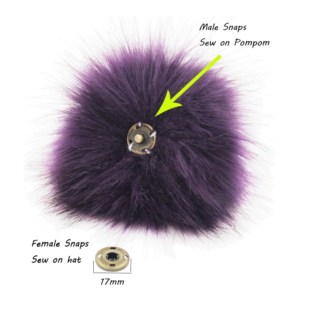 Brown Pack of 12CM 4.7inch 12pcs Faux Fox Fur Pompoms Ball for Knitting Hats with Press Snap Buttons