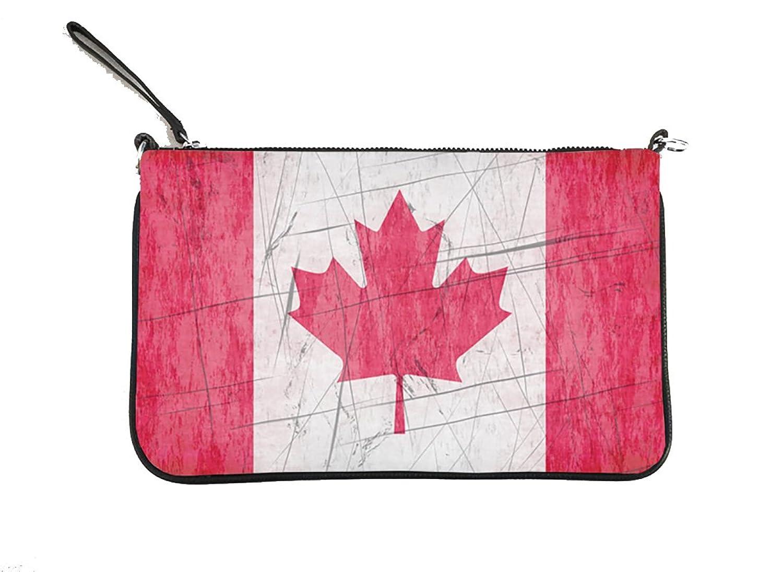"""Canadian Flag"" Leather Crossbody Wristlet with Detachable Adjustable Shoulder Strap"