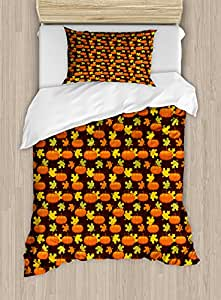 Pumpkin Twin Size Duvet Cover Set by Lunarable, Halloween Themed Illustration Maple Tree Leaves and Squash Plants Abstract Pattern, Decorative 2 Piece Bedding Set with 1 Pillow Sham, Multicolor