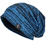 VECRY Mens Slouchy Knit Oversized Beanie Skull Caps Artistic Hats (Blue)