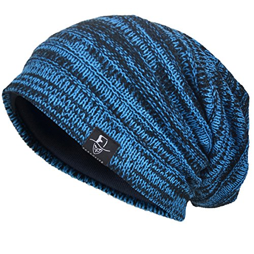 Aftermath Hat - VECRY Men's Cool Cotton Beanie Slouch Skull Cap Long Baggy Hip-hop Winter Summer Hat (Twill-Brilliant Blue)