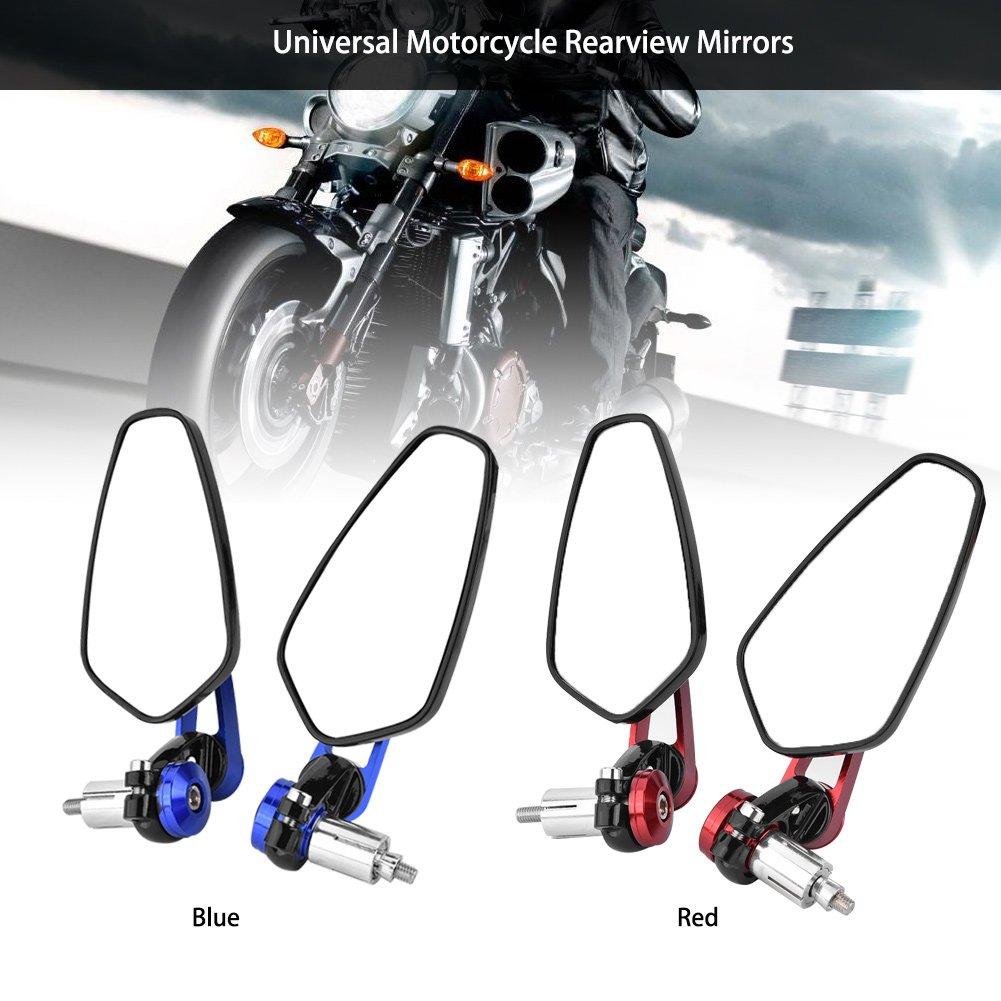 Specchietto retrovisore moto 1 paio 7//822mm Universale in lega di alluminio 360 gradi grandangolare regolabile Bar End Side specchietti retrovisori per moto moto Red