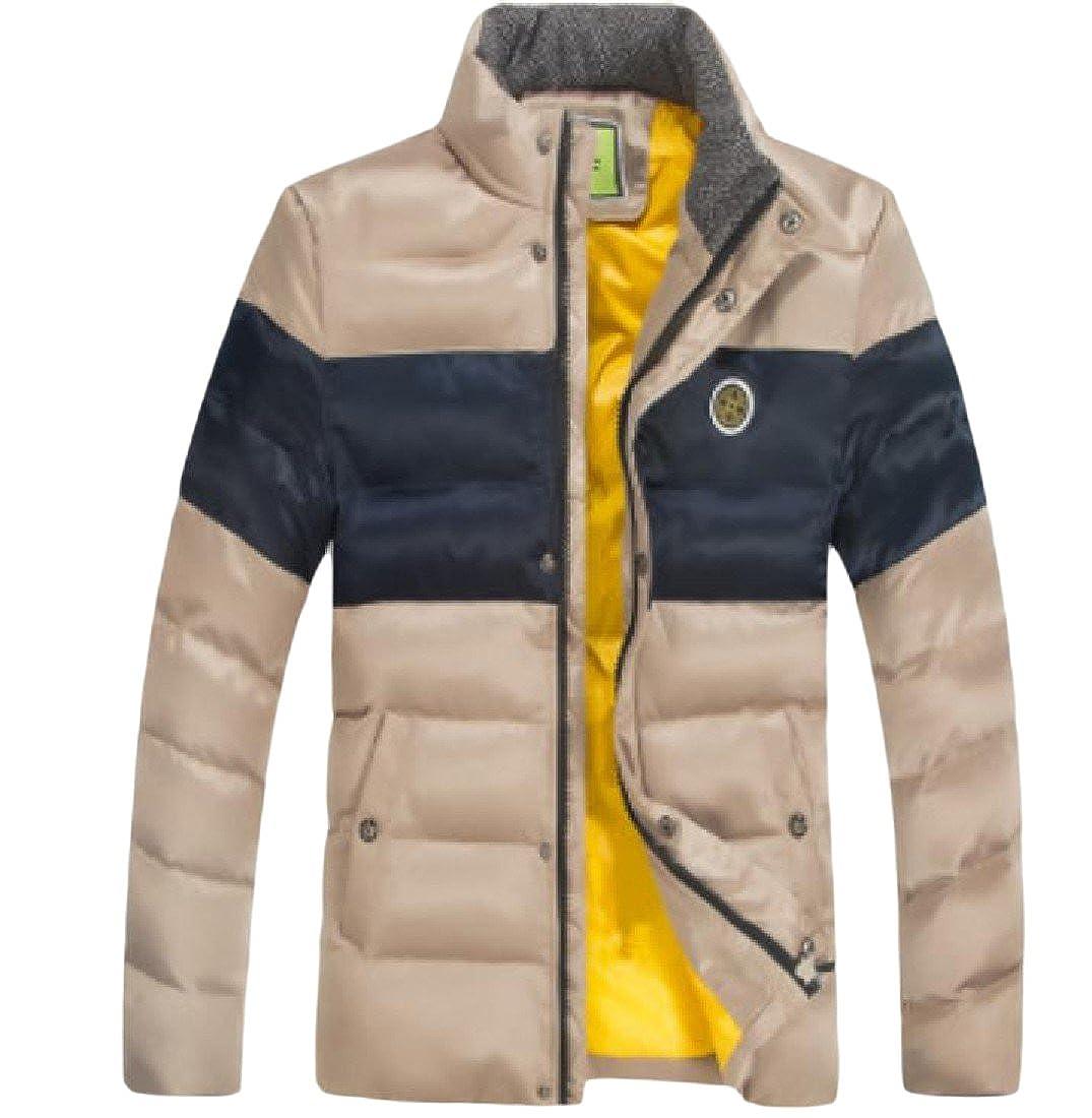 NestYu Mens Contrast Mandarin Collar Thicken Warm Outdoor Coat