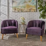 Scarlett Modern BlackBerry Velvet Club Chairs (Set of 2) For Sale