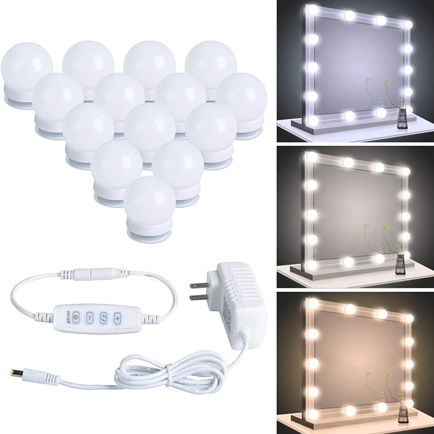 Hollywood Led Vanity Lights Strip Kit with 14 Dimmable Light Bulbs for Full Body Length Makeup Mirror and Bathroom Wall Mirror, Plug in Vanity Mirror Lights with Power Supply, 3 Color Modes: Home Improvement