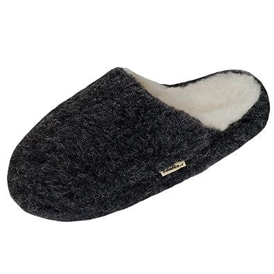 SamWo Schafwoll-Wohlfühl-Hausschuhe/Pantoffeln,Weiche Rutschfeste Sohle,100% Schafwolle SWH 43-44