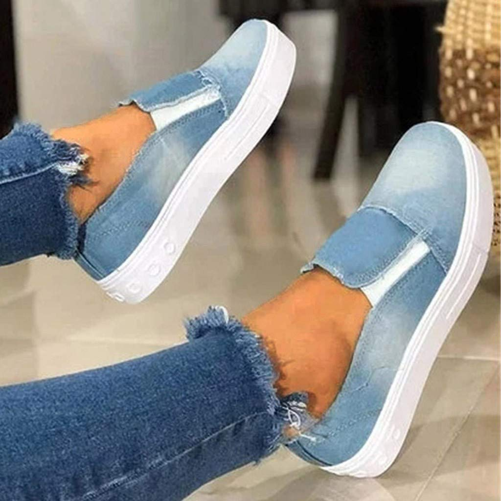 Womens Canvas Flat Comfort Shoes Loafers Slip-On Athletic Running Tennis Sneakers Soft Bottom Platform Denim Shoes