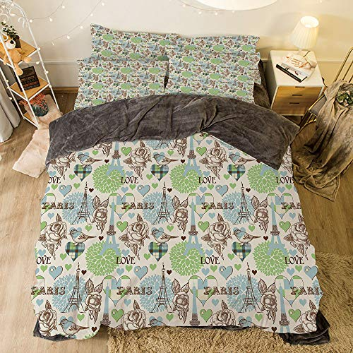 iPrint Flannel 4 Pieces on The Bed Duvet Cover Set for Bed Width 6.6ft Pattern by,Paris,Eiffel Tower Love Birds Rose Blooms Romantic Nostalgic Graphic Decorative,Cream Pale Blue Brown Lime Green