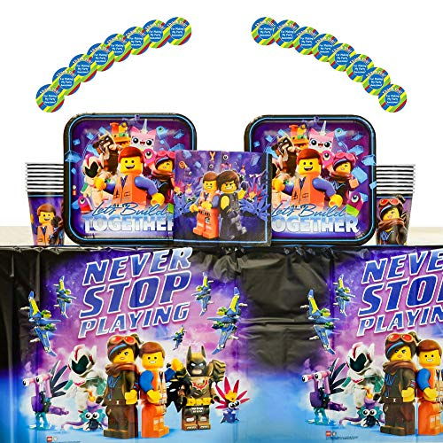 Lego Movie 2 Party Supplies Pack for 16 Guests: Stickers, Dinner Plates, Lunch Napkins, Cups, and Table Cover (Bundle for 16)