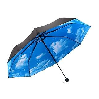 50+ Anti-Ultravioleta Paraguas de Protección Solar Cielo Azul 3 Plegable Sombrillas Paraguas de Lluvia
