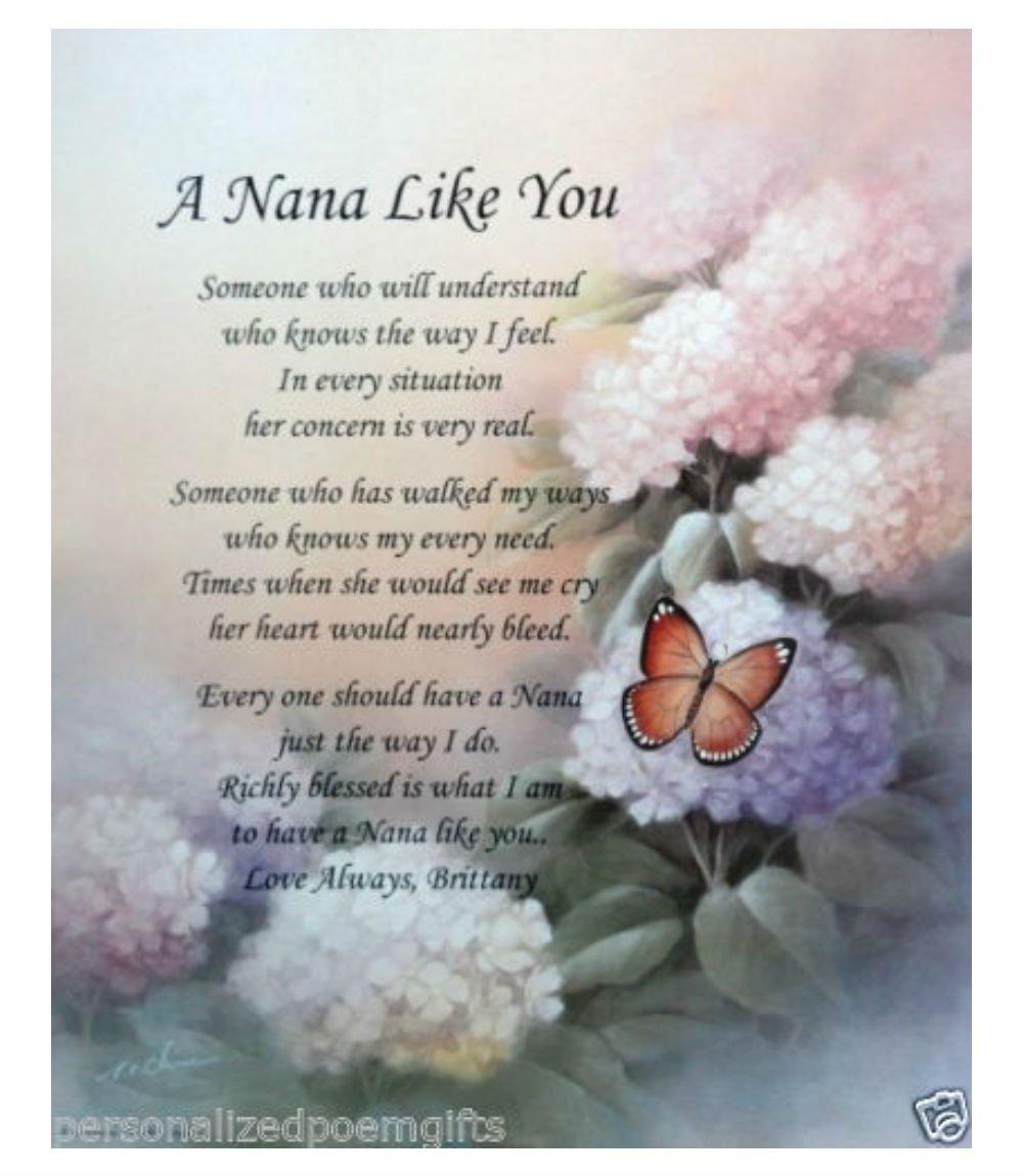 Personalisierte Nana Gedicht Geburtstag, Muttertag oder Weihnachten ...