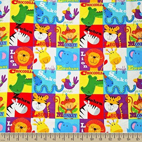 Comfy Jungle Animal Squares Flannel Fabric Sold By the Yard ()