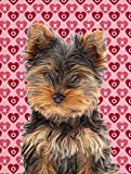 Caroline's Treasures Hearts Love and Valentine's Day Yorkie Puppy/Yorkshire Terrier Canvas House Flag For Sale