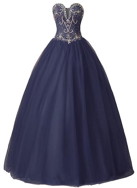 Callmelady Vestidos de Fiesta de Quince Años Largos Vestidos de Quinceañera para Niñas (Azul Marino