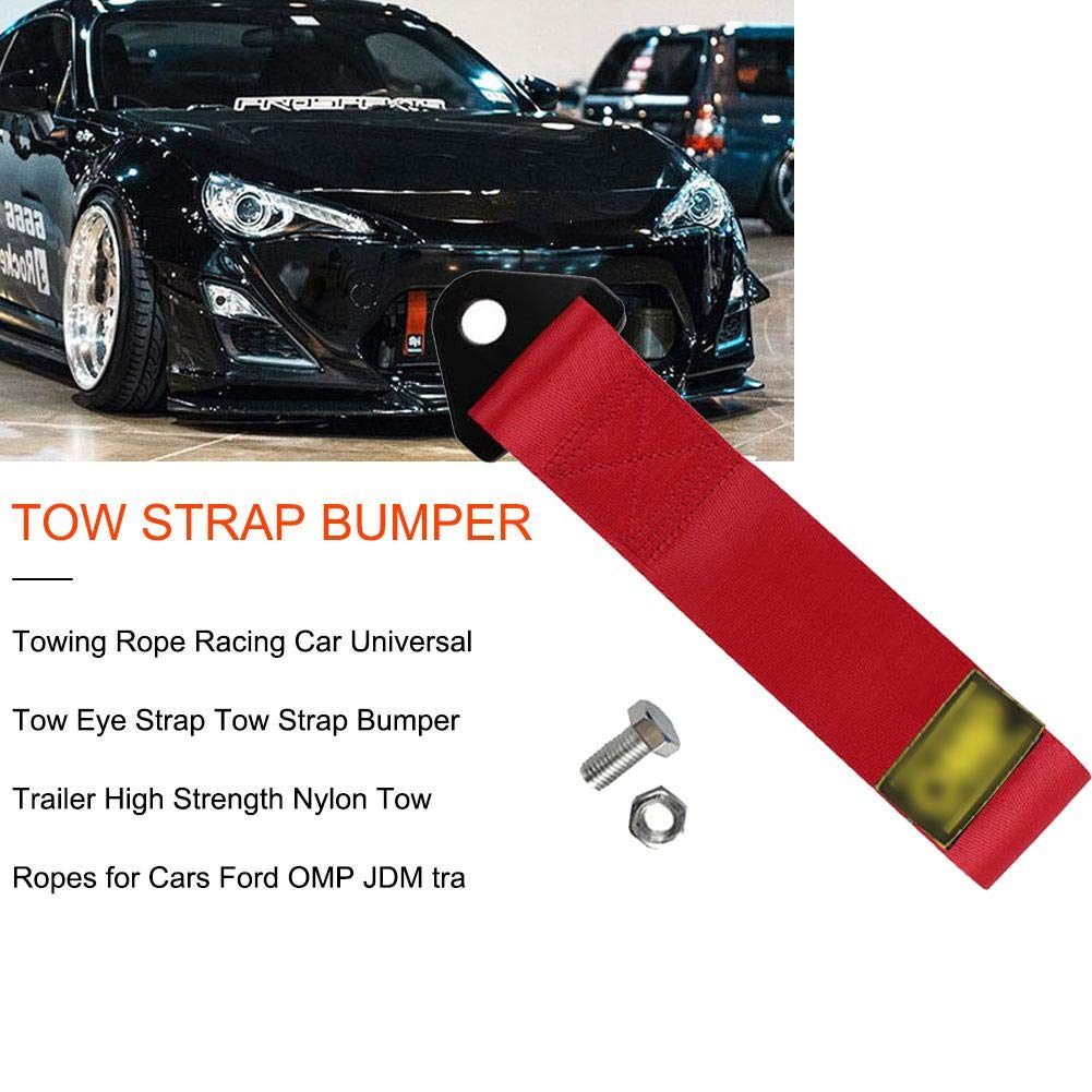 Finelyty Racing Tow Strap Set Trailer Rope For Front Rear Bumper Towing Hook High Strength Decorative Brand Marker