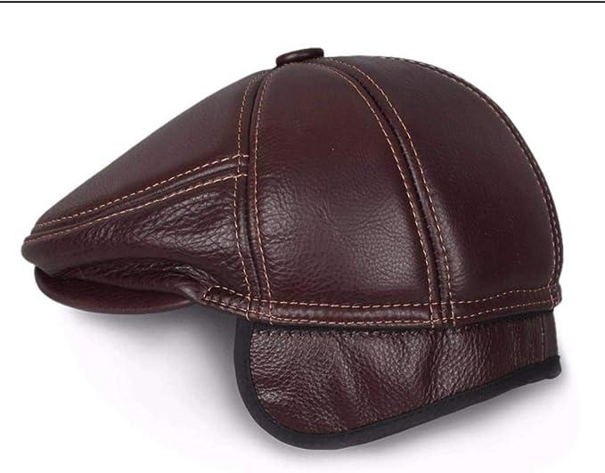 LIUXINDA-PM Mens Spring and Autumn Winter Leather hat caps Beret Earmuffs