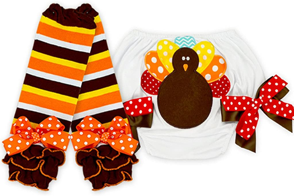 Angeline Baby Girls Thanksgiving Bloomers Turkey Diaper Cover Leg Warmers