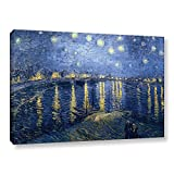 ArtWall Vincent Vangogh's Starry Night Over The Rhone, Lighter Version Gallery Wrapped Canvas Artwork, 32 by 48-Inch