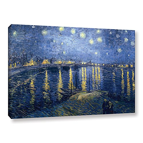 ArtWall Vincent Vangogh's Starry Night Over The Rhone, Lighter Version Gallery Wrapped Canvas Artwork, 32 by 48-Inch by Art Wall