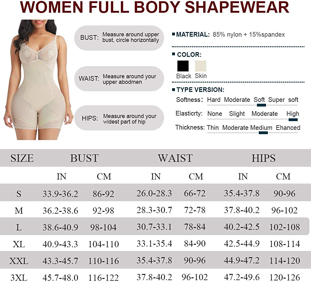 SHER Women Seamless Full Body Shapewear Tummy Control Butt Lifter Body Shaper Thigh Slimmer High Waist Bodysuit with Straps