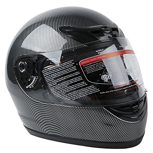 TCMT Adult Carbon Fiber Black Full Face Motorcycle Helmet DOT M