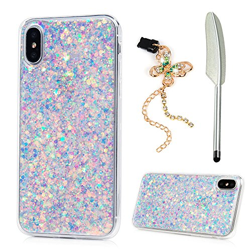GEMYON iPhone X case, iPhone Xs 5.8 Case, Shiny Bling Sparkle Glitter Design Crystal Clear Transparent Soft Flexible TPU Bumper Shockproof Full Protective Cover for iPhone Xs 5.8 /iPhone X - Purple