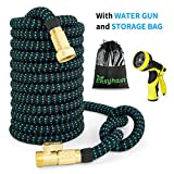 shrink hose - EASYHOSE Expandable Garden Hose - 50 foot-Extra Strength Stretch Material with Brass Connectors - Bonus 9 Way Spray Nozzle+Free Storage Bag+12 Months Manufacturers Warranty (50ft, Black+Blue)