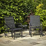 Garden Mile Outdoor 2 Seater Black Garden Glider Love Seat With Table Swing Seat Rocking Chair Patio Furniture Relaxing Swinging Garden Chair Heavy Duty Garden Bench Seat. (Black)