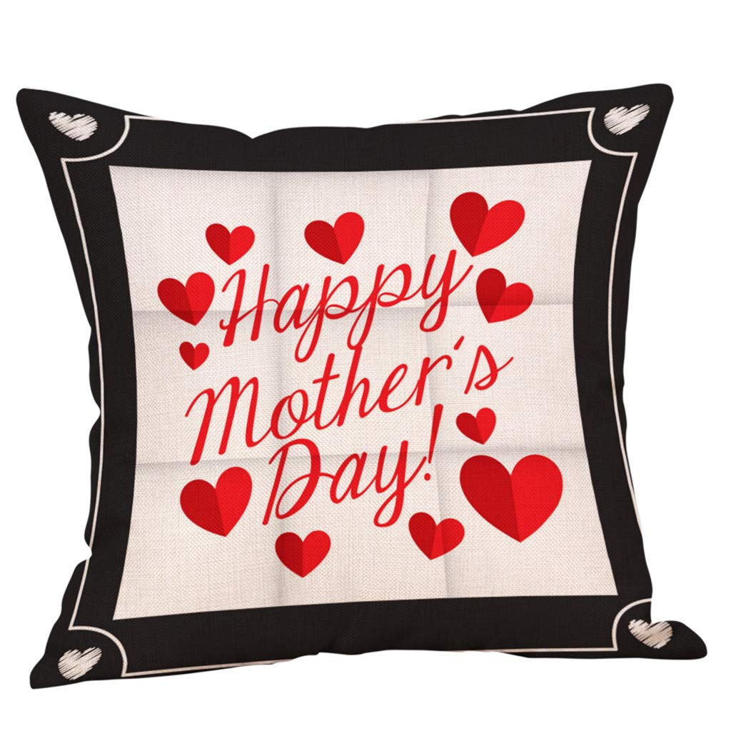 Pillow Case 45 x 45cm,Fheaven Mother's Day Pillow Happy Case Sofa Bed Home Decoration Festival Cushion Cover Gift For Mom (A)