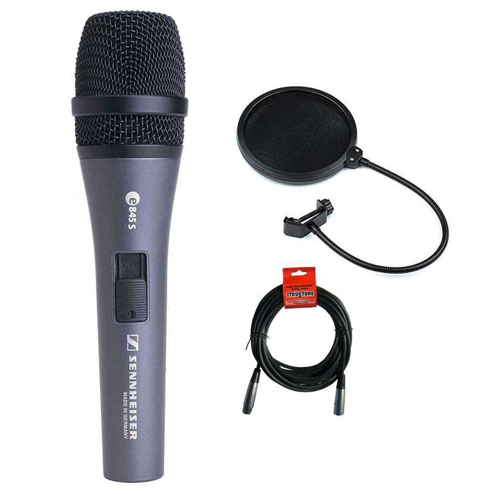 Sennheiser E845S Super-Cardioid Handheld Dynamic Microphone with Switch plus XLR-XLR Cable and Pop filter by Sennheiser