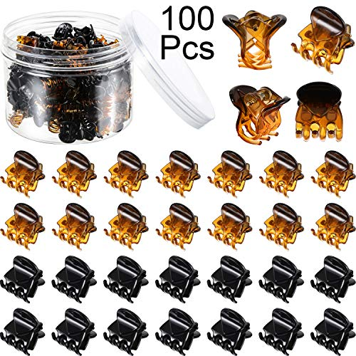 100 Pieces Mini Hair Claw Clips Plastic Hair Claws Pins Clamps with a Box Small Hair Jaw Clips for Girls and Women, Black and Brown