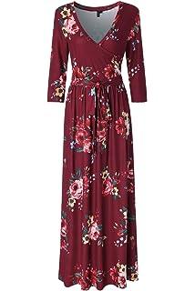 94d9fe25d1a7 Zattcas Womens 3/4 Sleeve Floral Print Faux Wrap Long Maxi Dress with Belt