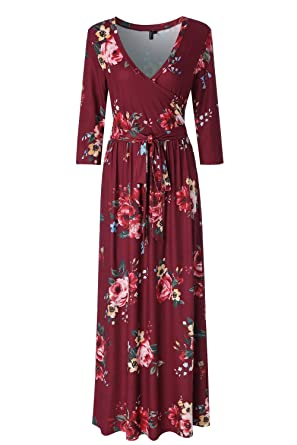 12dc82ac31b Zattcas Womens 3 4 Sleeve Floral Print Faux Wrap Long Maxi Dress with Belt (