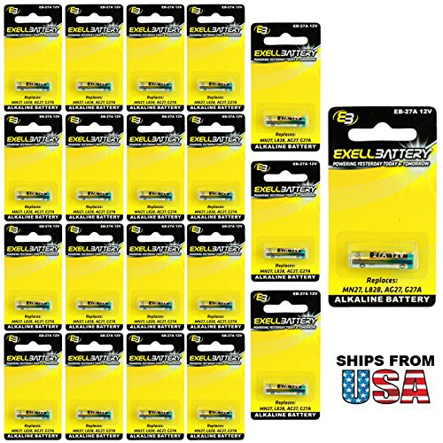 20x Exell EB-27A Alkaline 12V Battery Replaces 27A, A27, B-1, CA22, EL-812, EL812, G27A, GP27A, L828, MN27, R27A FAST Fits Universal Garage Gate Cloning Remote Control 433MHZ from Tecmania USA SHIP