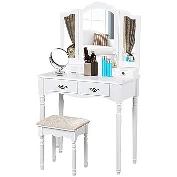Popamazing Shabby Chic White Dressing Table Set With 3 Way Tri Fold