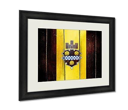 Amazon.com: Ashley Framed Prints, Vintage Pittsburgh Flag On Grunge ...