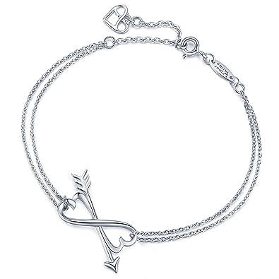 AmorAime Unendlichkeit für Immer Liebe Armband-925 Sterling Silber Infinity  Symbol Pfeil Charme Verstellbare Armband bf37c52f03