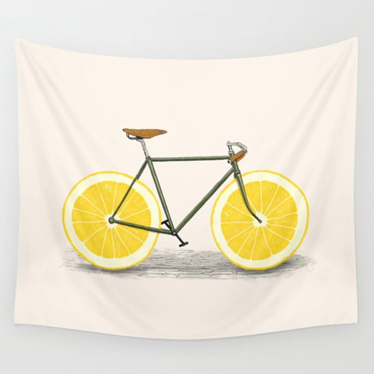 "Shukqueen Tapestry, Yellow Lemon Bike Wall Hanging Tapestry Dorm Decor (51"" H x 60"" W, Bike)"